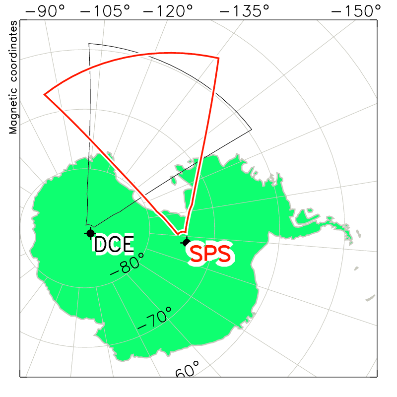 South Pole Station Radar Field of View Map